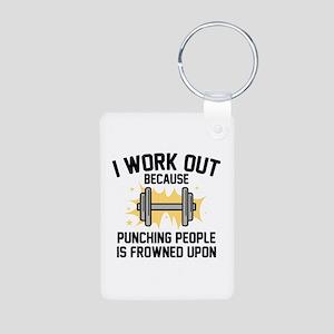 I Work Out Aluminum Photo Keychain