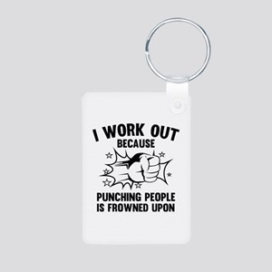 I Work Out Aluminum Photo Keychain