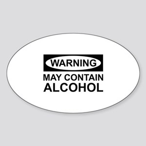 May Contain Alcohol Sticker (Oval)