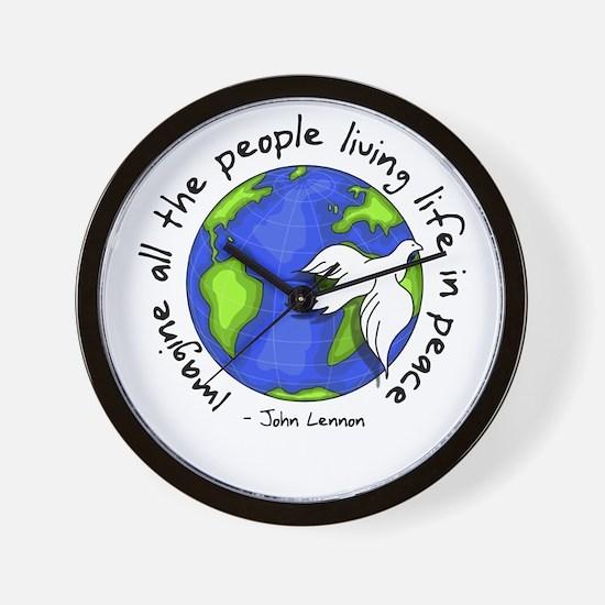 Imagine - World - Live in Peace Wall Clock