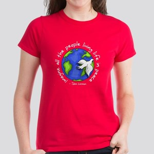 Imagine - World - Live in Peace Women's Dark T-Shi