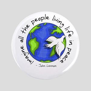 """Imagine - World - Live in Peace 3.5"""" Button"""