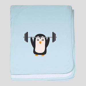 Penguin Weightlifting baby blanket