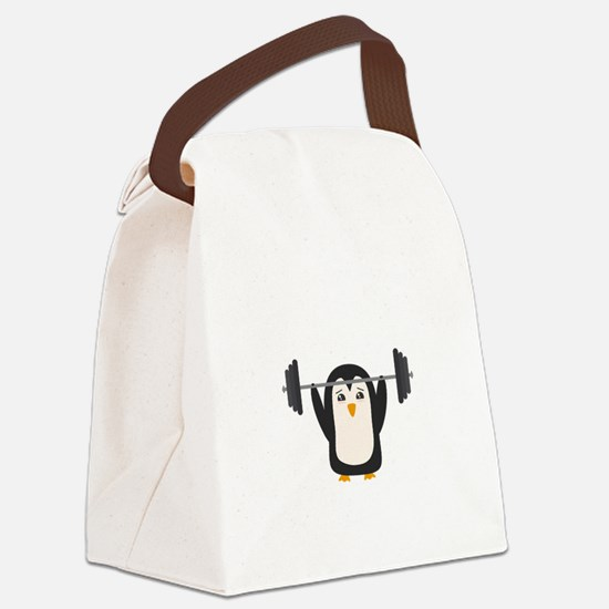 Penguin Weightlifting Canvas Lunch Bag