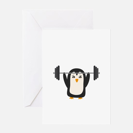 Penguin Weightlifting Greeting Cards