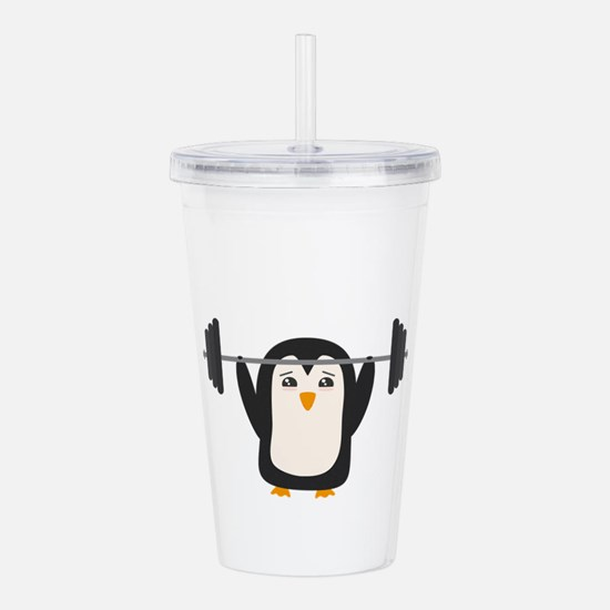 Penguin Weightlifting Acrylic Double-wall Tumbler