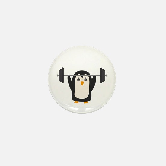 Penguin Weightlifting Mini Button