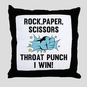 Throat Punch I Win Throw Pillow