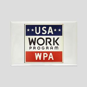 USA Work Program Rectangle Magnet