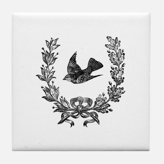 vintage sparrow bird and bow floral w Tile Coaster