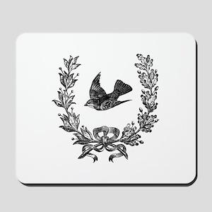 vintage sparrow bird and bow floral wrea Mousepad