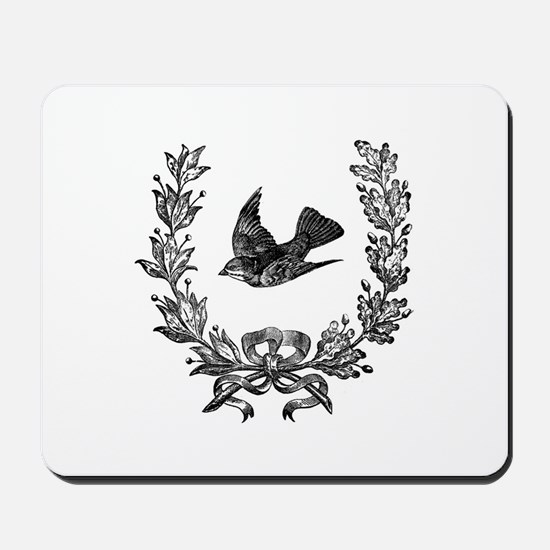 vintage sparrow bird and bow floral wrea Mousepad