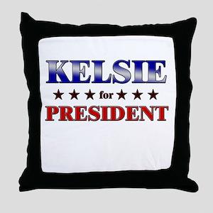 KELSIE for president Throw Pillow