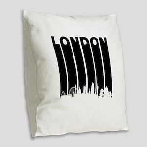 Retro London Cityscape Burlap Throw Pillow