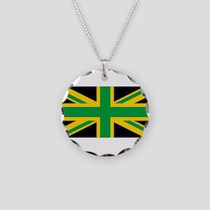 British - Jamaican Union Jac Necklace Circle Charm