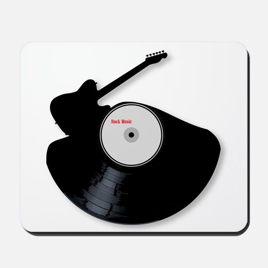 Rock Music Silhouette Record Mousepad