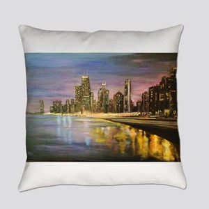 Chicago by Night Everyday Pillow