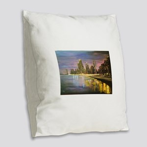 Chicago by Night Burlap Throw Pillow