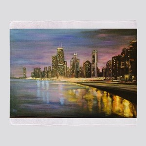 Chicago by Night Throw Blanket