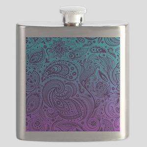 Depp Purple Floral Paisley On Purple And Tur Flask