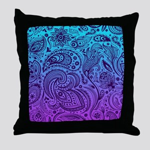 Depp Purple Floral Paisley On Purple Throw Pillow