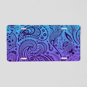 Depp Purple Floral Paisley Aluminum License Plate