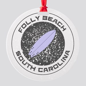 South Carolina - Folly Beach Round Ornament