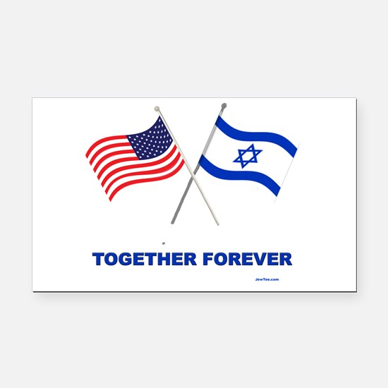 US and Israel Together Forever Rectangle Car Magne