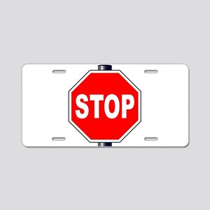 Octagon Stop Sign Aluminum License Plate