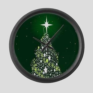 Star Spangled Christmas Tree Large Wall Clock