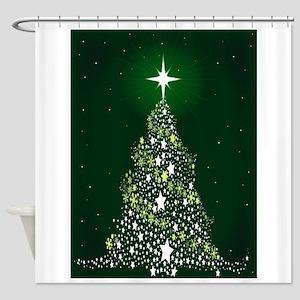 Star Spangled Christmas Tree Shower Curtain