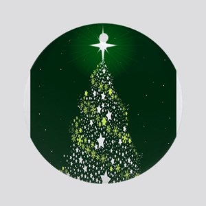 Star Spangled Christmas Tree Round Ornament