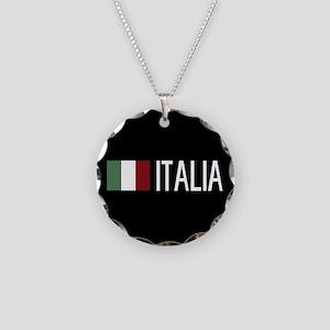 Italy: Italia & Italian Flag Necklace Circle Charm
