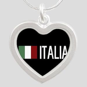 Italy: Italia & Italian Flag Silver Heart Necklace