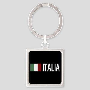 Italy: Italia & Italian Flag Square Keychain