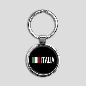 Italy: Italia & Italian Flag Round Keychain