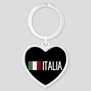 Italy: Italia & Italian Flag Heart Keychain