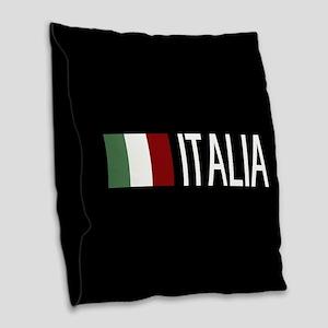 Italy: Italia & Italian Flag Burlap Throw Pillow