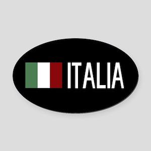 Italy: Italia & Italian Flag Oval Car Magnet