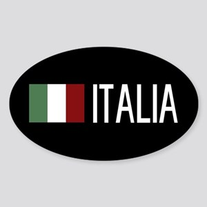 Italy: Italia & Italian Flag Sticker (Oval)
