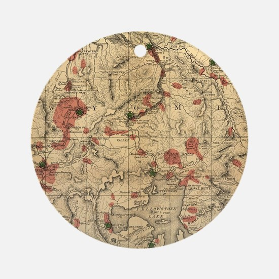 Cute Yellowstone national park Round Ornament