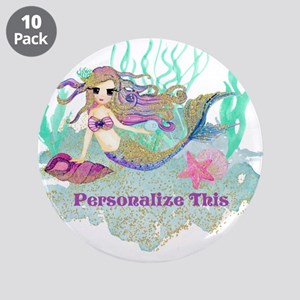"""Cute Personalized Mermaid 3.5"""" Button (10 pack)"""