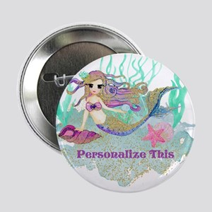 """Cute Personalized Mermaid 2.25"""" Button (10 pack)"""