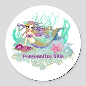 Cute Personalized Mermaid Round Car Magnet
