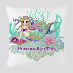 Cute Personalized Mermaid Woven Throw Pillow