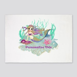 Cute Personalized Mermaid 5'x7'Area Rug