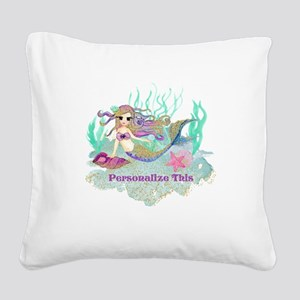 Cute Personalized Mermaid Square Canvas Pillow