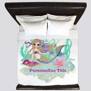 Cute Personalized Mermaid King Duvet