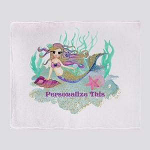 Cute Personalized Mermaid Throw Blanket