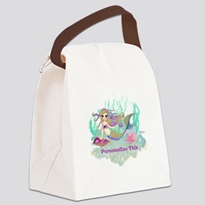 Cute Personalized Mermaid Canvas Lunch Bag